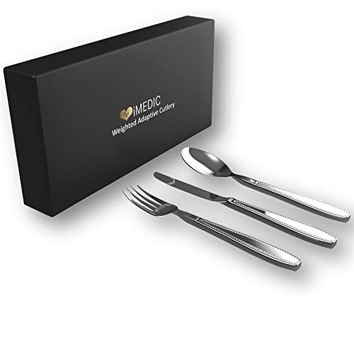 iMedic Weighted Adaptive Cutlery Utensils for Tremors and Parkinsons - 3 Piece Heavy Weight Steel Silverware with Gift Box