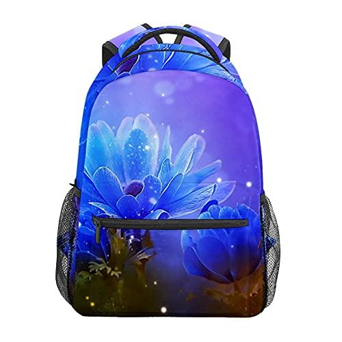 Blu Anemone Fiore Floreale Zainetto Scuola College Viaggi Escursionismo Moda Laptop Zaino per Donne Uomini Teen Casual Borse di Tela