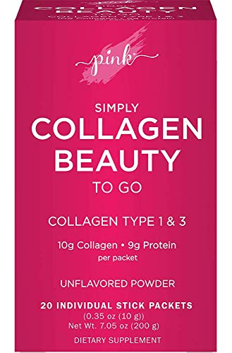 Pink Simply Beauty Collagen Powder to Go | 20 Travel Packets | Unflavoured Collagen Type 1 & 3 with Protein | Grass Fed Peptides | Non-GMO, Gluten Free Supplement for Women
