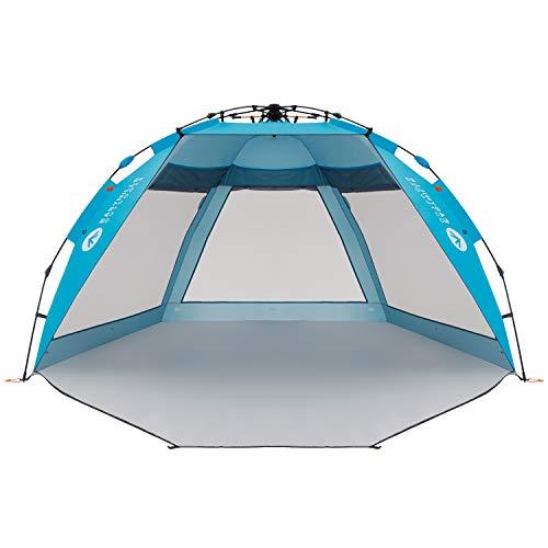 Easthills Outdoor Coastview Strandzelt mit LSF 50+, extra großer Sonnenschutz, mit Reißverschluss, Coastview Ultra Pacific Blue