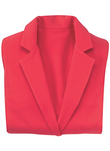 AmeriMark Women's Casual Blazer 3/4 Sleeve Notched Collar One Button Solid Colors Red 16 Misses