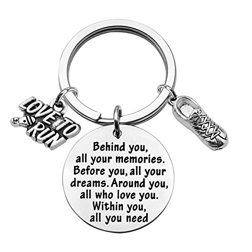 FEELMEM Marathon Runner Gifts Running Keychain Behind You All Memories Before You All Your Dream Keychain Cross Country Track Marathon Jewelry Runner Running Gift (Marathon Runner Keychain)