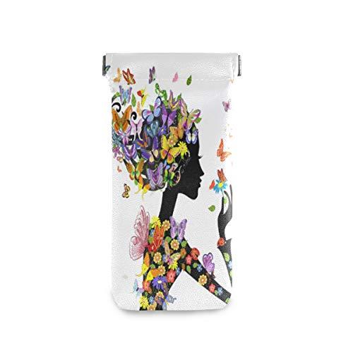 QMIN - Funda para gafas de sol, diseño de mariposas, flores y flores, de piel sintética suave, para mujeres y hombres