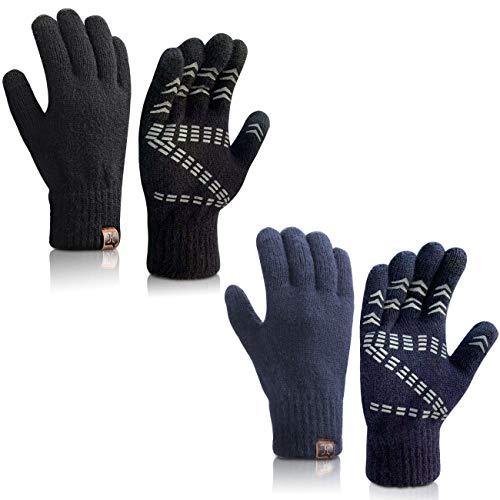 Maylisacc Touchscreen Gebreide Handschoenen Winter Heren, 24 cm Warme Tech Handschoen met Grip Voor Unisex Thermische Fleece Gevoerde Texting Typende Handschoenen