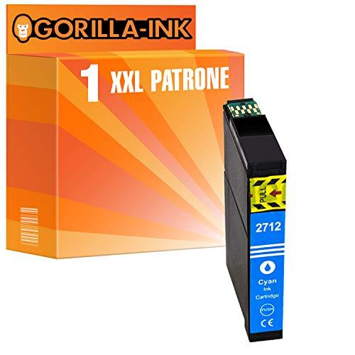 Gorilla-Ink 1 Cartucho de Tinta XXL Compatible con Epson T2712 27XL 27 XL Cyan | Adecuado para Epson Workforce WF-3620 DWF WF-3620 WF WF-3640 DTWF WF-7110 DTW WF-7210 DTW