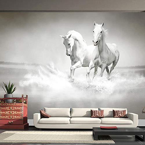 Fotobehang Non-Woven Art Print Muurschildering Poster Beeld Wit Dier Paard voor Woonkamer Slaapkamer TV Achtergrond Muur 118.11x82.67 inch
