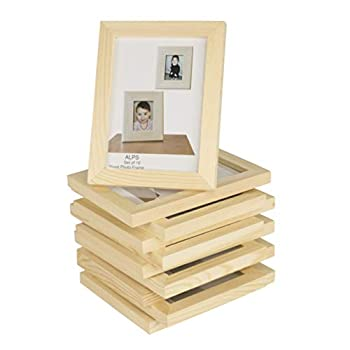 Wallniture Alps DIY Wall Decor Picture Frames 4x6 Inch Photos Table Top Display or Wall Mount Set of 10 Natural Finish