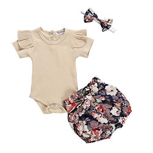Conjunto de 2 Piezas Ropa Bebe Niña Verano Fossen Recién Nacido 0 a 24 Meses Monos con Volantes y Florales Pantalones Cortos