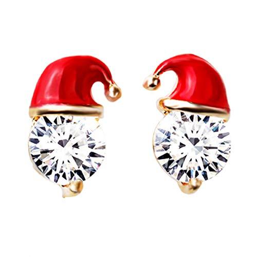 Ruby569y Pendientes colgantes para mujeres y niñas, diseño de sombrero de Navidad, exquisitos diamantes de imitación de aleación incrustados para las mujeres - dorado