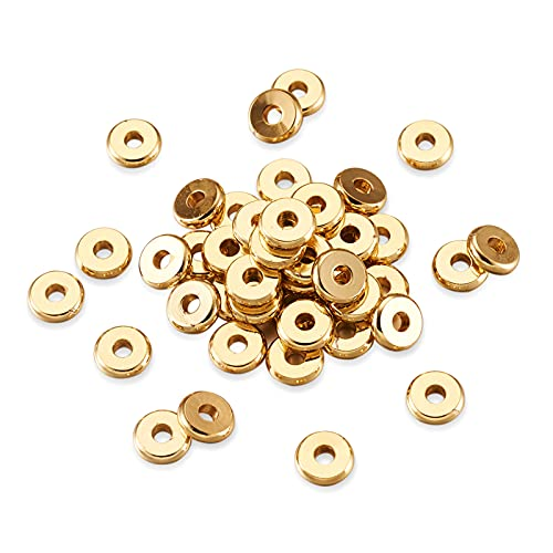 Cheriswelry 200pcs 6x1.2mm Flat Round Metal Heishi Beads Spacer Golden Brass Flat Rondelle Disc Coin Loose Beads Spacers for Surfer Bohemian Jewelry Making Supplies DIY Crafts