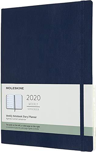 Moleskine - Agenda Semanal de 12 Meses 2020, Tapa Blanda y Goma Elástica, Color Azul Zafiro, Tamaño Extra Grande 19 x 25 cm, 144 Páginas (AGENDA 12 MOIS)