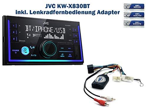Autoradio JVC KW-X830BT geeignet für Mitsubishi ASX | Lancer | L200 | Outlander | Pajero | Space-Star | Shogun inkl. Lenkrad Fernbedienung Adapter