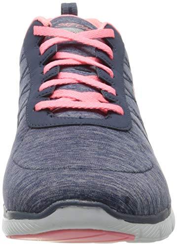 Skechers Flex Appeal 3.0-Insiders, Zapatillas Mujer, Multicolor (NVCL Black & Gray Mesh/Black Trim), 38 EU