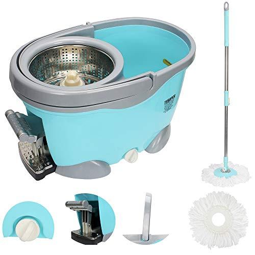 Balde Spin Mop 360 Inox Com Pedal Aluminio Completo Sp301-g Azul