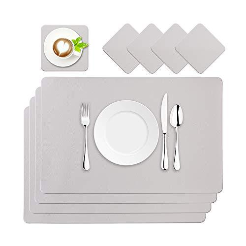 BaoWnylz Tischsets Leder Platzsets PU Kunstleder Platzdecken Grau 4er Sets Abwaschbar Wasserdicht 45x30cm und Quadratischer Glasuntersetzer für Hause Küche Restaurant