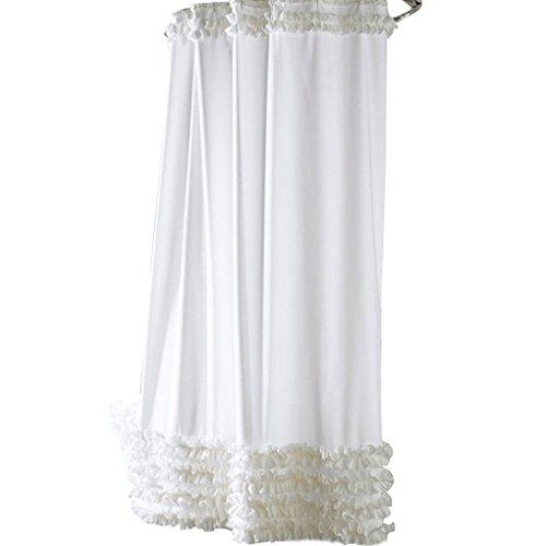 QHGstore Rüschen Duschvorhang Liner Wasserabweisend Mehltau-Polyester-Vorhang weiß 180 * 200cm