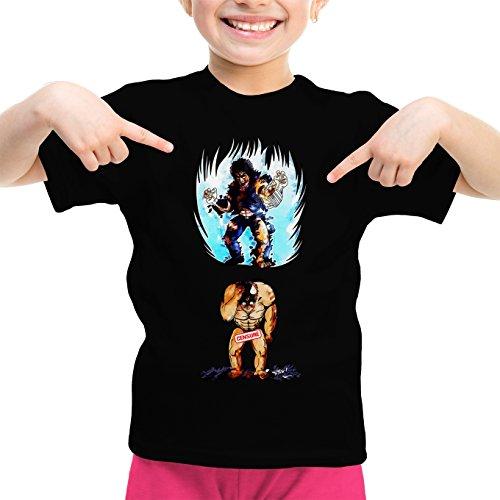 Okiwoki T-Shirt Enfant Fille Noir Parodie Ken Le Survivant - Kenshiro - Trop de Puissance. !!! : (T-Shirt Enfant de qualité Premium de Taille 3-4 Ans - imprimé en France)