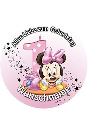 Minnie Maus, Essbares Tortenbild + Wunschname, Tortenaufleger Ø 20cm - 0226W-1
