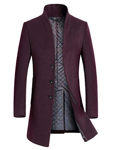 LaovanIn Men's Coats Winter Trench Coat Wool Long Pea Coat Jacket Business Suits Thick Burgundy Large
