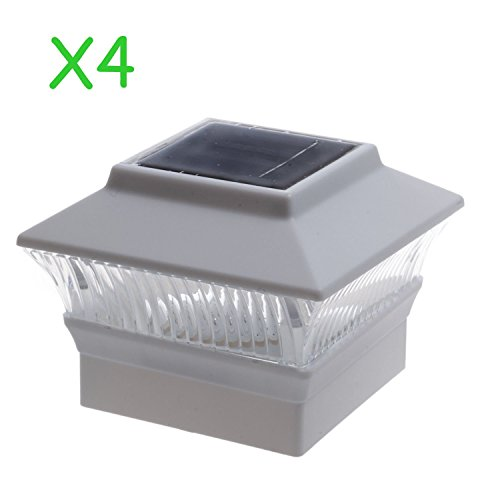 (4 Pack) Solar Power Square White Outdoor Garden Deck 4x4 PVC Fence Post Light