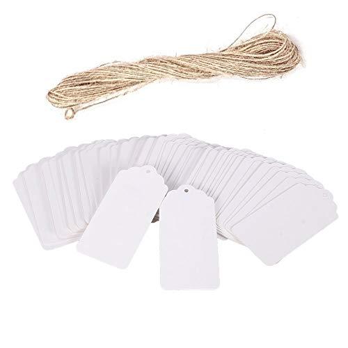 Preisvergleich Produktbild JZK 100 Weiß Rectangle Papier Geschenkanhänger + 20m Jute Hanfseil,  klein Etiketten für Gastgeschenk Box Lesezeichen Adventskalender Hochzeit Geburtstag Party Karte