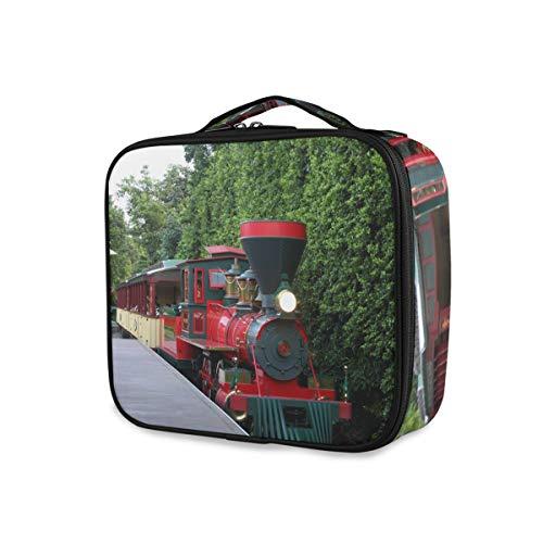 Portable Trousse De Toilette Maquillage Sac Voyage Outils Cosmétique Train Case Poches Vieux Train À Vapeur Jardin De Stockage
