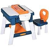 HOMCOM Kinder Aktivitätstisch Spieltisch, 2 in 1 Kinderschreibtisch mit Stauraum, Kindersitzgruppe, Bautisch mit Stuhl Klavier, Baustein, für 3-12 Jahren, PP, 68 x 46 x 52 cm