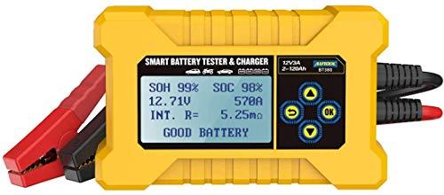 MRCARTOOL Comprobadores de batería de coche y cargador de batería de coche, prueba del sistema de arranque y carga de coche Analizador digital inteligente de batería de vehículo de 12 V (AUTOOL BT380)