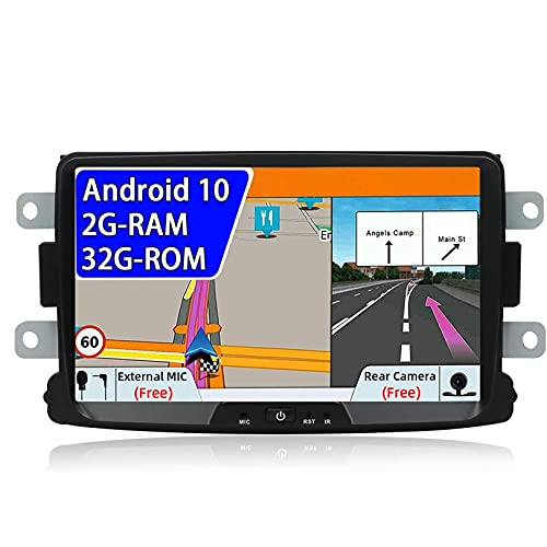Para Renault Duster Dacia Sandero Lada Xray 2 Captur Logan 2, Android 10.0 Doble Din Navegación GPS Pantalla táctil 2G + 32G Unidad principal estéreo para automóvil con cámara trasera