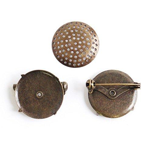 Broche metalen fitting met douchekop Rond 3 stuks Diameter 2,3 cm Antiek goud