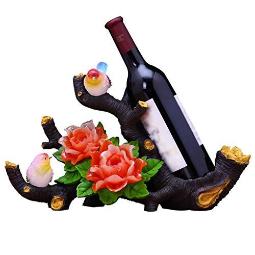 Weinregal ZHAOSHUNLI Dekoration Harz, Vogelsprache, kreative Einfachheit, Weinschrank Dekoration, Home Bar, Hochzeitsgeschenk (Color : Red)