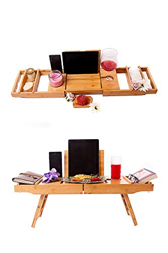 Eco Uitschuifbare Bamboe Badkuip Caddy Bed Tafellade met standaard voor Laptop en Houder voor iPad, telefoon, tablet, Kindle, wijn en kaars. Luxe Home Spa met boek- en tijdschrifthouder