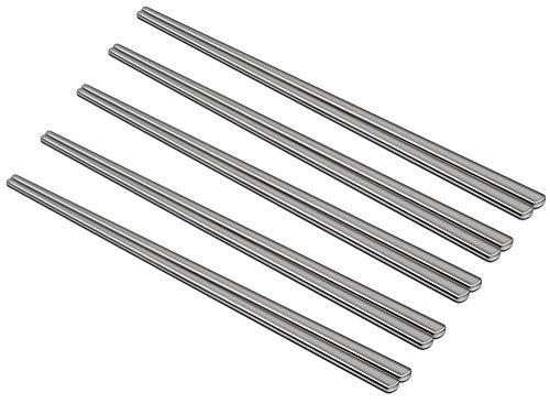 MyLifeUNIT 9 Inch Flat Chopsticks, Stainless Steel Korean Chopsticks (5 Pairs Set)