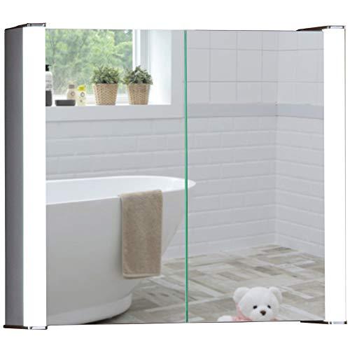 Neue Design Armario de baño con Espejo Iluminado por LED C12 con Sistema antivayo, Interruptor para máquina de Afeitar y Sensor y Luces LED 60 cm (Altura) x 65 cm (Anchura) x 16 cm (Profundidad)