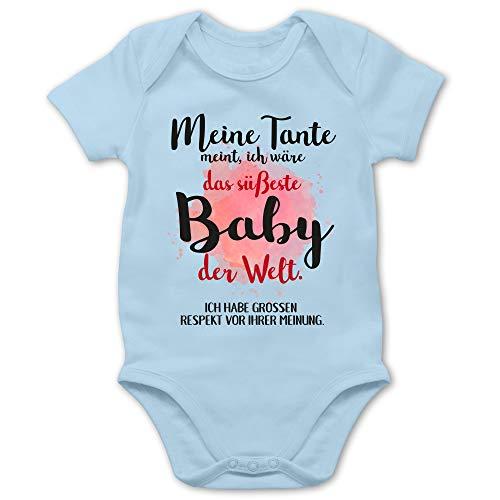 Shirtracer Strampler Motive - Meine Tante Meint, ich wäre das süßeste Baby der Welt. - 6/12 Monate - Babyblau - Baby mädchen Kleidung neugeboren - BZ10 - Baby Body Kurzarm für Jungen und Mädchen