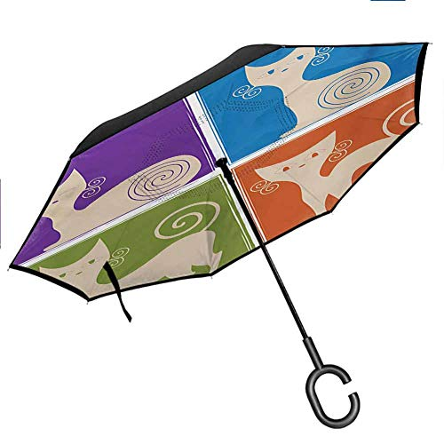 Anyangeight Funny Reverse Umbrella Cartoon Cats Whiskers Emotion Happy Confused Curious Goofy Kitty Print Upside Down UV Protection Windproof Windproof UV Protection Umbrella, 42.5'x31.5'Inch