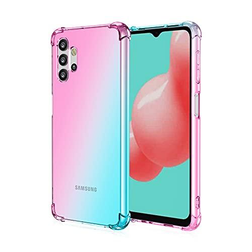 Funda para Samsung Galaxy A32 5G, RonRun Carcasa Ultra Fino Flexible Gradiente Transparente TPU Anti-arañazos Antigolpes Carcasa para Samsung Galaxy A32 5G Rosa/Verde