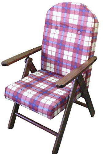 POLTRONA SEDIA SDRAIO AMALFI COLORE BORDEAUX in legno reclinabile 4 posizioni cuscino imbottito soggiorno cucina salone divano