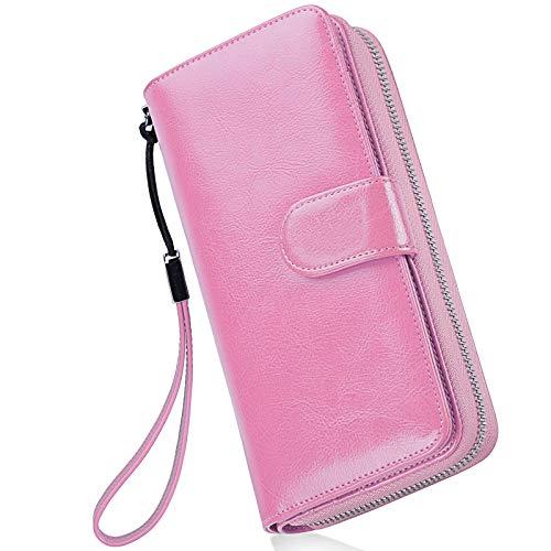 Portafoglio Donna Pelle Grande Capacità Lunga Portamonete Bloccaggio RFID, Elegante Donna Wallet Portafoglio con Cerniera Tanti Scomparti Rosa