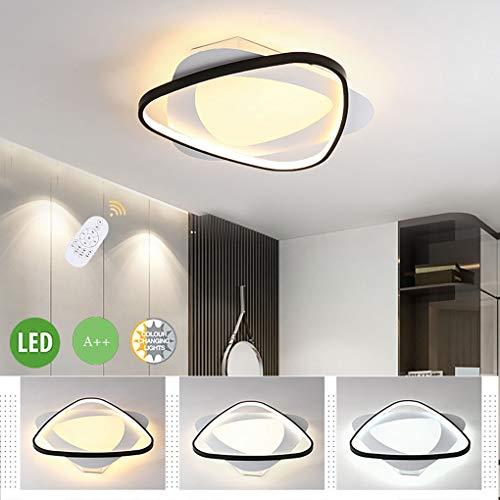 Led-plafondlamp, 2-spots, modern, driehoekig, slaapkamerlamp, dimmer plafondlamp met afstandsbediening, aluminium kroonluchter, voor woonkamerlamp, eetkamer, keuken, lamp, hal, binnenverlichting, plafondverlichting, D50 cm