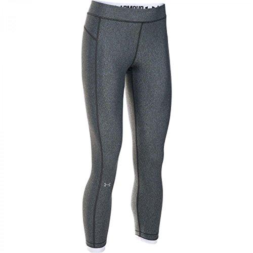 Under Armour HeatGear - Pantaloni alla caviglia da donna, Donna, Carbonio Heather (090)/argento metallizzato., Small