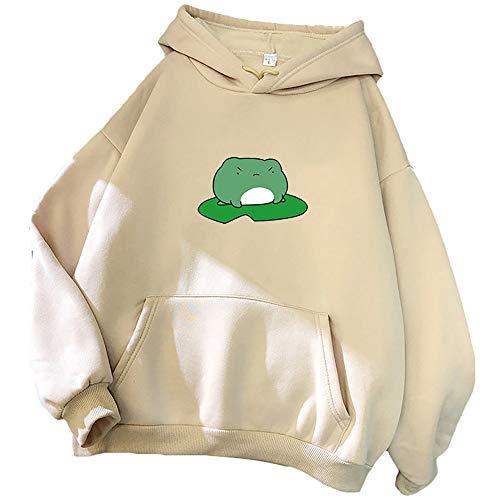 SalmophC Kawaii Frosch Hoodie Frauen Frosch Kapuzenpullover 3D-Druck Übergroßer Pullover Winter Warmes Langarm-Sweatshirt mit großer Tasche für Mädchen Frauen