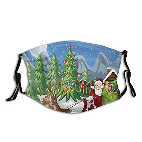 Comfortable Activated Carbon mask,Country Landscape At Night With Trees Santa Claus Snowdrift Reindeers Mountains,Printed Facial decorations for adult