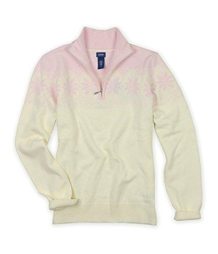 IZOD Womens Snowflake Pattern Quarter Zip Knit Sweater, Pink, Large