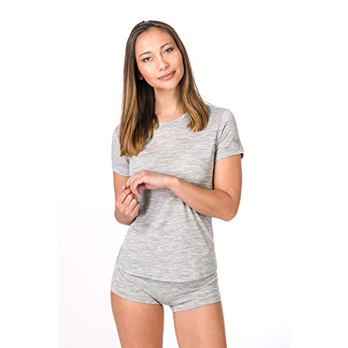 Super.Natural Damen Base Merino T-shirt, Hellgrau meliert, M
