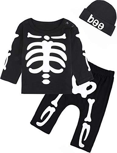 MOMBEBEB COSLAND Conjunto de Ropa Esqueleto Bebés Niños Disfraz Halloween, 6-12 Meses,...