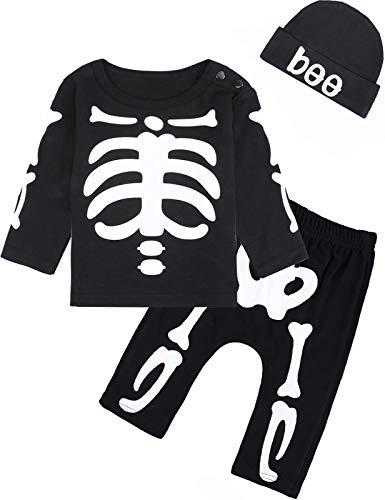 MOMBEBEB COSLAND Conjunto de Ropa Esqueleto Bebés Niños Disfraz Halloween, 12-18 Meses, Negro