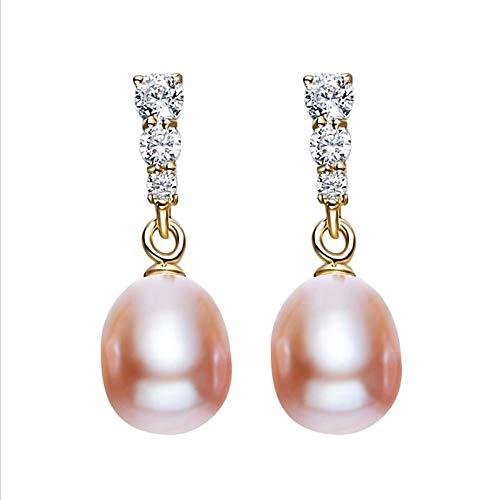 XHXXHX Damen 925 Sterling Silber Ohrstecker, Perlenohrringe Mode Kristall Diamanten hochwertige Persönlichkeit Ohrringe Vintage Eleganz Swarovski Elements Geschenke,Pink