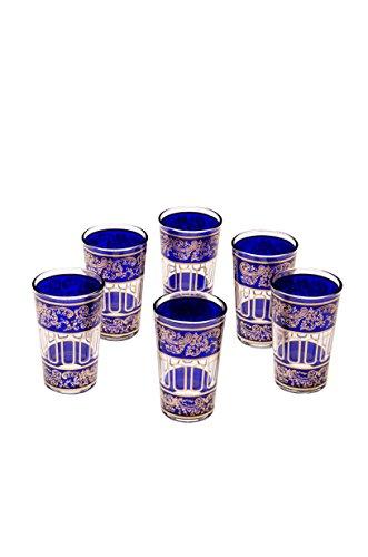 Orientalische verzierte Teegläser Set 6 Gläser Lamia Blau Gold | Marokkanische Tee Gläser Set 6 teilig Deko orientalisch | 6 x Orientalisches Marokkanisches Teeglas verziert | Farben auswahl