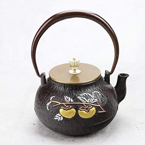 ZGQA-GQA Juegos de té de hierro fundido sur hierro fundido olla todo Ruyi de hierro crudo, olla de té set de 1 litro taza de té